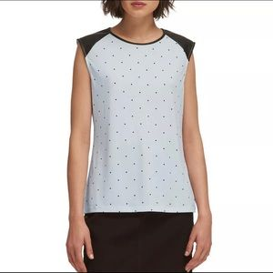 DKNY Women's Dotted Faux-Leather Top NWT